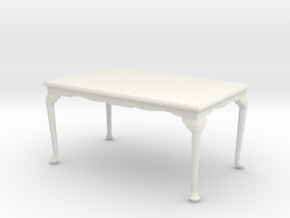 1:24 Queen Anne Table, Large in White Natural Versatile Plastic