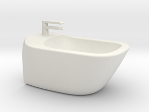 Bidet wall-mounted, 1:12, 1:24 in White Natural Versatile Plastic: 1:12