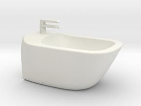 Bidet wall-mounted, 1:12, 1:24 in White Natural Versatile Plastic: 1:12