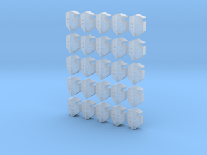25mm 25 Mini Cross Chest Shields in Smooth Fine Detail Plastic