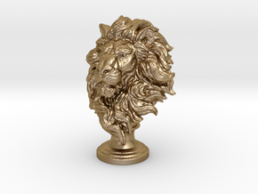 Lion Chess Piece 50mm in Polished Gold Steel