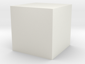 1cm Solid Cube in White Natural Versatile Plastic