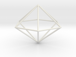hexagonal dipyramid 70mm in White Natural Versatile Plastic