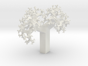 Skew Fractal Tree (Wild) in White Natural Versatile Plastic