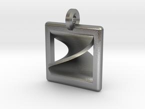 moebius square pendant in Natural Silver