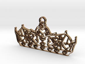 Queen of Hearts crown tiara charm or pendant 2mm t in Natural Brass