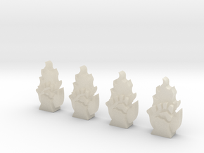 4 12mm Tall Flaming Fist Icons in White Acrylic