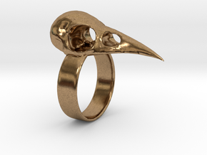 Realistic Raven Skull Ring - Size 9 in Natural Brass