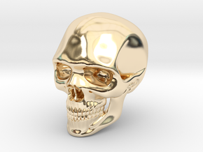 Realistic Human Skull (40mm H) in 14K Yellow Gold