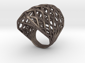 Ring 002 in Polished Bronzed Silver Steel