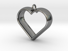 Stylized Heart Pendant in Fine Detail Polished Silver