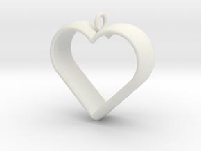 Stylized Heart Pendant in White Natural Versatile Plastic