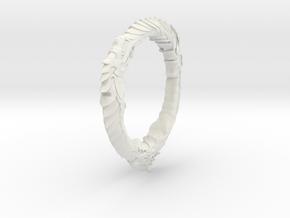 Triple Ourouboros Dragon Pendant in White Natural Versatile Plastic