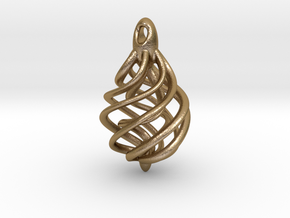 DNA Teardrop Pendant in Polished Gold Steel