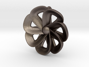 pendant flower 2 (7 petals) in Polished Bronzed Silver Steel