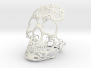 Skull sculpture Tribal Sugar 100mm in White Strong & Flexible