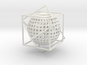 Sphere dans un double Cube in White Strong & Flexible