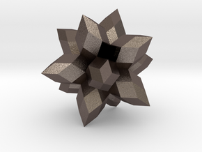 12-Pointed Zome Star in Polished Bronzed Silver Steel