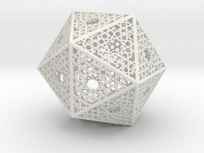 Screened Icosahedron in White Natural Versatile Plastic