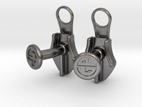 Zipper Cufflinks in Polished Nickel Steel