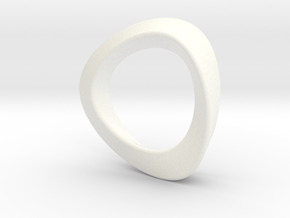 Mobius Strip with triangular cross-section in White Strong & Flexible Polished