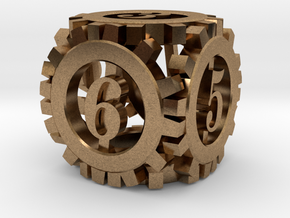 Steampunk Gear d6 in Natural Brass