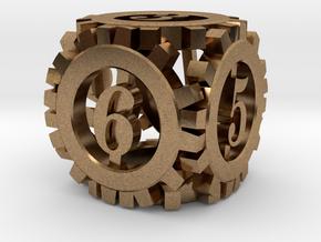Steampunk Gear d6 in Raw Brass