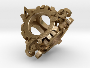 Steampunk Gear d4 in Polished Gold Steel