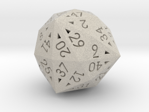 48 Sided Die - Regular in Natural Sandstone