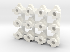 Set of 12 (6L & 6R) Swivel Hard Points for 1/60 in White Processed Versatile Plastic