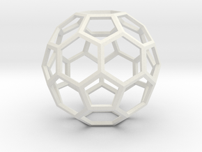1 Inch Soccer Ball Wireframe in White Strong & Flexible