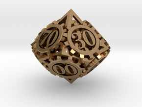 Steampunk Gear d00 in Natural Brass