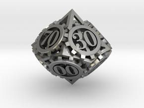 Steampunk Gear d00 in Natural Silver