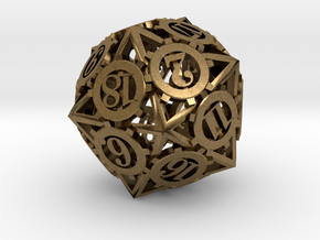 Steampunk Gear d20 in Natural Bronze