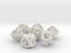 Steampunk Gear Dice Set in White Strong & Flexible