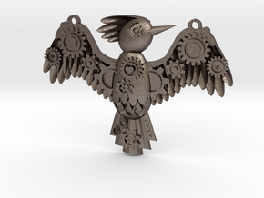 Steampunk Bird Pendant in Polished Bronzed Silver Steel