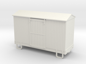 55n9 13ft 4 wheeled box car - peaked roof  in White Natural Versatile Plastic