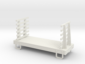 55n9 13ft 4 wheeled Flat  car - Slatted ends in White Strong & Flexible
