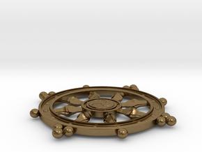 Wheel of Life Pendant - Dharmachakra in Natural Bronze