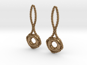 Lifebuoy earrings in Natural Brass