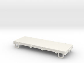 On30 16ft flat car - without stakes in White Natural Versatile Plastic