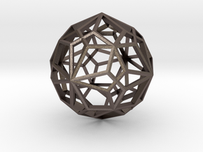 Compound of two pentagonal icositetrahedra in Polished Bronzed Silver Steel