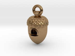 Acorn Whistle in Natural Brass