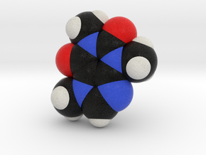 Caffeine SpaceFill Molecule Model in Full Color Sandstone