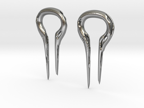 Molten Metal Earrings, 2 gauge in Natural Silver
