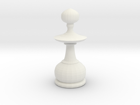 Smaller Staunton Pawn Chesspiece in White Natural Versatile Plastic