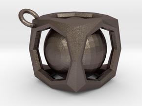Encased Sphere Pendant in Polished Bronzed Silver Steel