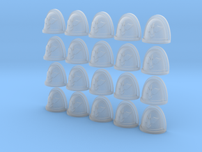 Blood Bird Rimmed - 20, 28mm Shoulder Pads in Smooth Fine Detail Plastic
