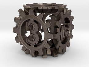 D6 Gear Type 1-(Steampunk/Cog Tinge) in Polished Bronzed Silver Steel