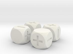 Basic Fudge Dice SOLID (x4) Fate dF in White Natural Versatile Plastic
